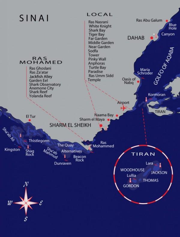 Mapa potápěčských lokalit Egypt